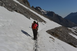 Traversing across the snow