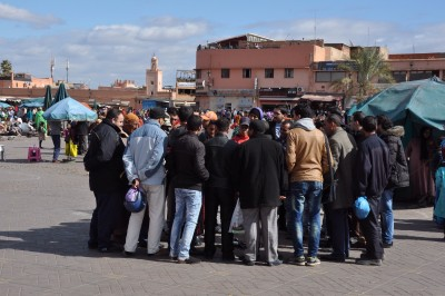 Jemaa El Fna often has crowds of folk just watching performers